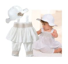 6-24m Baby Girl White Smock Tunic, Pant and Hat 3-pc Set (100/18-24 Months)