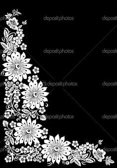 129 best black and white flowers background images on pinterest depositphotos6416080 white big flowers corner isolated on black mightylinksfo