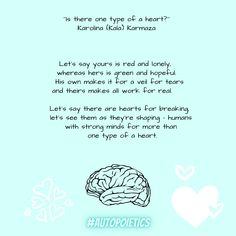 """""""Is there one type of a heart?''POEM of the day from #AUTOPOIETICS #read #poetry Have you ever thought of knowing your type of a heart? I mean, have you ever thought of making your mind strong enough to make one count? Well, there is more than one... In Writing, Creative Writing, Poem A Day, Content Marketing, Count, Poems, Ebooks, Strong, Let It Be"""