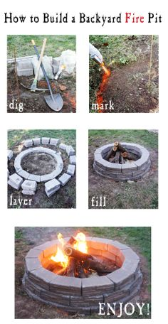 How to Build an Easy Backyard Fire Pit Fire Pit Ring, Diy Fire Pit, Fire Pit Backyard, Fire Pits, Outdoor Fire, Outdoor Decor, Fire Pit Furniture, Back To Nature, Outdoor Projects