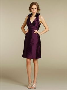 Sheath/Column V-neck Taffeta Knee-length Grape Ruched Bridesmaid Dresses at Millybridal.com