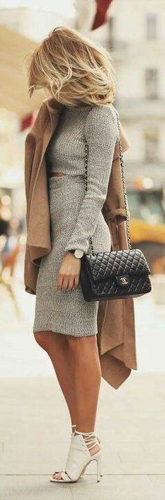 #Winter #Outfits / Long Sleeve Knit Dress + Brown Coat