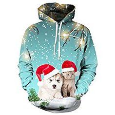 Uideazone Teen Girls Printed Ugly Christmas Cats Sweatshirt Cute X-mas Gift Sweater Hoodie blue, M