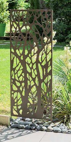 Panneau décoratif en métal x - Best Pins Grill Door Design, Fence Design, Garden Design, Decorative Metal Screen, Outdoor Metal Wall Art, Garden Screening, Metal Panels, Panel Wall Art, Garden Trellis