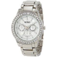 Amazon.com: XOXO Women's XO5331 Silver-tone Bracelet With Rhinestones Accent Watch: Watches