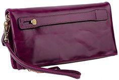Yahoho Damen weich wachs echtes Leder Clutches Geldbörse mit Handheld Belt Karte Phone Münze Tasche lila