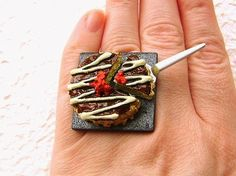 Kawaii Cute Japanese Ring Okonomiyaki by SouZouCreations on Etsy, $10.00