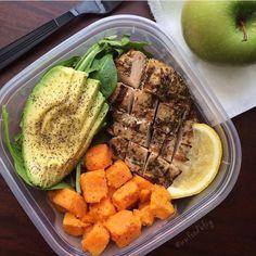meat, avocado, sweet potato yam lunch