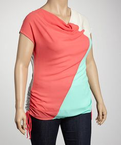 Take a look at this Heather Gray & Coral Color Block Side-Tie Plus-Size Top by Tua Plus on #zulily today!