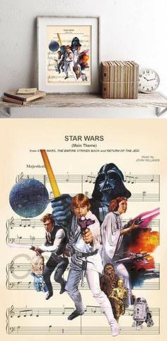 Star Wars Theme Sheet Music Art Print - Star Wars Decoration #starwars #decor #art