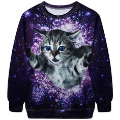 Pink Queen Purple Womens Crew Neck Pullover Cat Galaxy Printed... (78 BRL) ❤ liked on Polyvore featuring tops, hoodies, sweatshirts, shirts, sweaters, sweatshirt, purple, crew-neck sweatshirts, sweatshirts hoodies and cat shirt