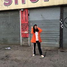 Maria Pizzeria wearing the Hunter Original CORE Vinyl Smock in Orange - See Instagram photos and videos from @mariapizzeria