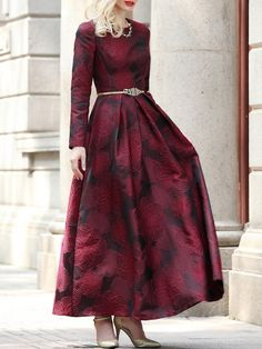 Shop Maxi Dresses - Wine Red Long Sleeve Jacquard Crew Neck Maxi Dress online. Discover unique designers fashion at StyleWe.com.