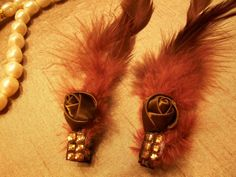 French Feathered Rhinestone Clips by Piaraciccone on Etsy, $5.00
