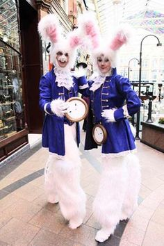 Fluffy and energetic, the White Rabbits will hop & bounce their way around your event, entertaining guests and handing out treats from their flower baskets.   Available in all white or dressed in smart blue coats and pocket watches, they are ideal for Easter or Garden themes as well as Alice In Wonderland and other enchanted events.   Costumes are also adaptable to suit family and nightclub audiences.