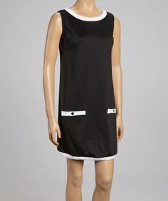 Take a look at this Black & White Pocket Sleeveless Dress by Madison & Lola on #zulily today!