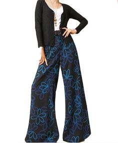 Spessore caldo blu gamba larga floreale pantaloni  di Buuki's Store su DaWanda.com