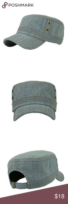 Denim Flat Top Cap MATERIAL: Top quality Cotton, Light Weight, Very Stylish.  Size: head circumference 58-60cm/ 22.8-23.6inch. Adjustable   Perfect for spring casual and summer travel and all seasons  Unisex, great for men & women. Accessories Hats