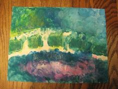 Monet's Water Lilies- masking tape in bridge shape, kids can use finger paints to recreate Monet's masterpiece!