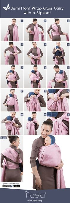 Instruction: Semi Front Wrap Cross Carry with a Slipknot - Tragetuch - Baby Baby Carrier Jacket, Best Baby Carrier, Baby Wrap Carrier, Baby Sling Wrap, Baby Carrying Wrap, Baby Wearing Wrap, Baby List, Baby Wraps, Trendy Baby