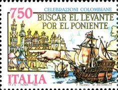 1991 - Celebrazioni Colombiane nel 5° Centenario della scoperta dell'America - Cristoforo Colombo nell'atto di indicare la rotta del suo viaggio