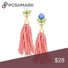 "Abigail Earring Pink With delicate seed beads topped with a petal leaf design, Abigail adds the finishing touch.  Post back  Length is 3""  Width is 0.75"" Sparkle & Whim Jewelry Earrings"