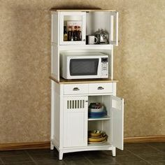 Find This Pin And More On For The Home White Microwave Cabinet With Hutch Hyeriders