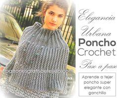 Poncho super elegante para tejer con ganchillo / Paso a paso | Crochet y Dos agujas