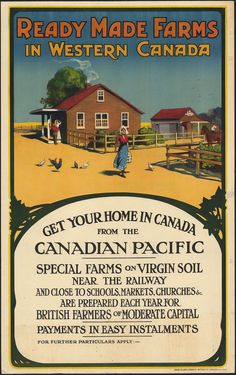 Mixed Media - Ready Made Farms In Western Canada - Canadian Pacific - Retro Travel Poster - Vintage Poster by Studio Grafiikka , Canadian Prairies, Canadian Rockies, Easy Rider, Vintage Advertisements, Vintage Ads, Advertising Signs, British Columbia, Quebec, Fun Facts About Canada