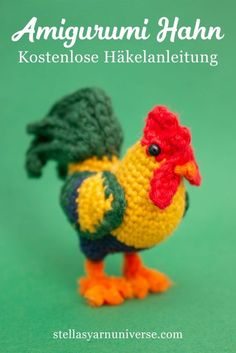 Amigurumi Rooster - Free Crochet Pattern - Stella's Yarn Universe - - This free crochet pattern for my amigurumi rooster is a great little project for improving beginners as well as seasoned crocheters! Crochet Birds, Easter Crochet, Cute Crochet, Crochet Animals, Crochet Food, Crochet Bear, Crochet Stitch, Crotchet, Crochet Amigurumi Free Patterns