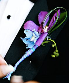 Blue and purple boutonniere