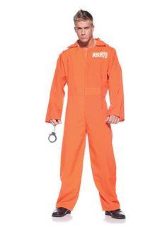 d480182428fd Adult Orange Mens Prison Jumpsuit Robber Costume
