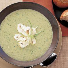 Creamy Scallion-Mushroom Soup | Scallions add a bright, oniony note to this creamy soup.