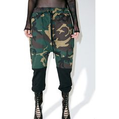 HLZBLZ Major Bellz Pants ($68) ❤ liked on Polyvore featuring pants, camo pants, camoflage pants, camo print pants, low crotch pants and camoflauge pants