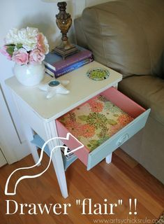 Thrifty End Table Makeover - Chalk Paint - Drawer Flair - artsychicksrule.com #chalkpaint #duckegg #shabby #coastal