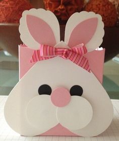 Pink Easter Bunny Treat Bag by Rose Marie Jusino Easter Projects, Easter Crafts, Valentine Day Crafts, Valentines, Diy Easter Cards, Homemade Easter Baskets, Diy And Crafts, Crafts For Kids, Custom Made Gift