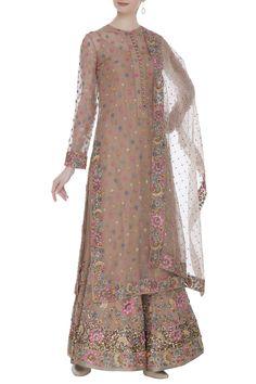 Shop Nikita Mhaisalkar Embroidered kurta with sharara & dupatta , Exclusive Indian Designer Latest Collections Available at Aza Fashions Pakistani Fancy Dresses, Pakistani Dress Design, 1990s Fashion Trends, Fashion Hacks, Fashion Ideas, Fashion Design, Fashion Tips, Suit Fashion, Fashion Dresses