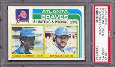 1982 Topps #126 Braves Batting & Pitching Leaders PSA 10 pop 15 by Topps. $12.25. 1982 Topps #126 Braves Batting & Pitching Leaders PSA 10 pop 15. If multiple items appear in the image, the item you are purchasing is the one described in the title.