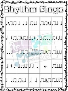 Rhythm Bingo (quarter, barred eighth, half, whole, quarter rest) Teaching Music, Learning Piano, Music Theory Games, General Music Classroom, Music Bulletin Boards, Elementary Music Lessons, Middle School Music, First Year Teaching, Music Lesson Plans