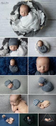 10 day old Luke's studio newborn photo shoot using lots of greys and blues.  Simple and stunning.  Sunny S-H Photography Winnipeg