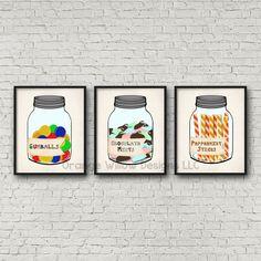 Kitchen Pantry Art set (239AOWD) Gum balls, Peppermint Sticks, Chocolate Mints Art Printables Kitchen Pantry Art Print Set all 3 Prints by OrangeWillowDesigns on Etsy