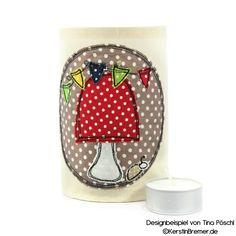 Teelicht Hülle mit Pilz Doodle Stickmotiv von KerstinBremer.de. Designbeispiel von @tinapoeschl ♥ Mushroom doodle appliqué embroidery for embroidery machines. #sticken #nähmalen #stickdatei