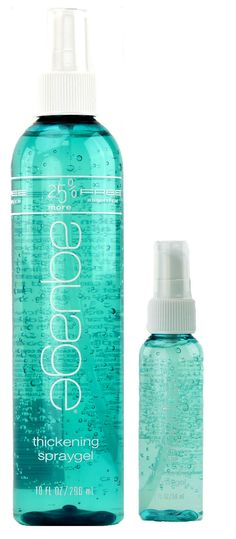 Aquage Thickening Spraygel uses sea botanicals to thicken and strengthen hair. It can be used on wet or dry hair and protects against humidity but also shampoos out of hair easily. You can find this and other Aquage products at The Style Lounge!