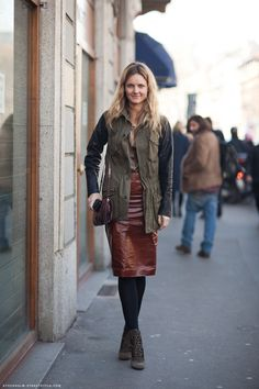 brown leather skirt and cool booties
