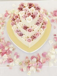 White chocolate hear with coolwater sugar flowers