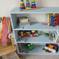 Children's Numbered Bookcase -- Keep the playroom organized with a simple bookcase. #decoartprojects #chalkyfinish