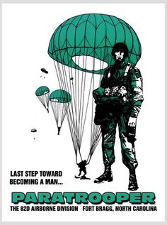 Becoming A Man Last Step Paratrooper Airborne Recruiting Poster Airborne Army, 82nd Airborne Division, Archangel Michael Tattoo, Army Look, Parachute Regiment, Ww2 Posters, Military Drawings, Military Pictures, Military Men