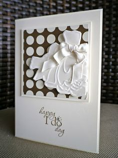 beautiful card and great idea for creating a dress using the Manhattan Flower embossing folder
