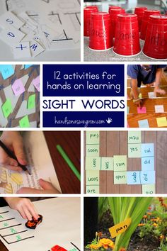 These are twelve hands on sight word activities. Hands on learning is always the goal in my house! Learning sight words can be a lot of fun for the kids! Teaching Sight Words, Sight Word Activities, Sight Word Practice, Sight Word Games, Literacy Centers, Alphabet Activities, Teaching Reading, Fun Learning, Early Childhood Education