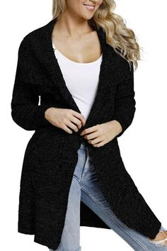 b2bea54bd0 Hot Sale Black Chunky Long Cardigan with Side Pockets